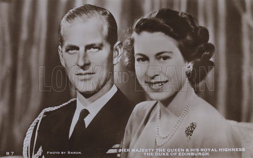 Her majesty the Queen and his royal highness the Duke of Edinburgh. Postcard, 20th century.