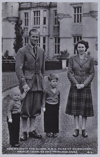 Her majesty the Queen, HRH Duke of Edinburgh, Prince Charles and Princess Anne. Postcard, 20th century.