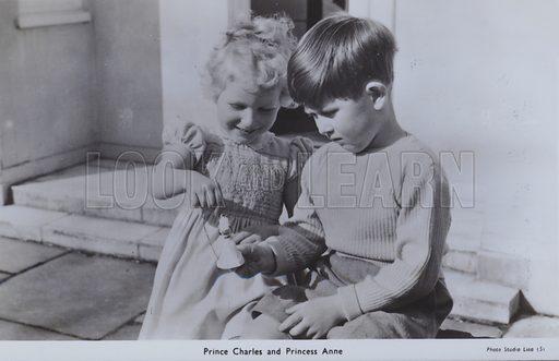 Prince Charles and Princess Anne. Postcard, 20th century.