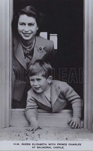 HM Queen Elizabeth with Prince Charles at Balmoral castle. Postcard, 20th century.
