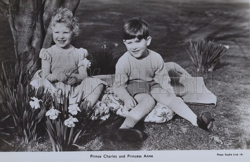 Prince Charles and Princess Anne. Postcard, 20th century.