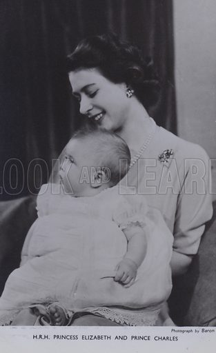 HRH Princess Elizabeth and Prince Charles. Postcard, 20th century.