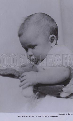 The royal baby, HRH Prince Charles. Postcard, 20th century.