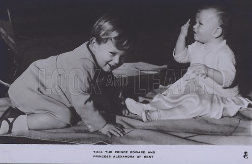 TRH The Prince Edward and Princess Alexandra of Kent. Postcard, 20th century.