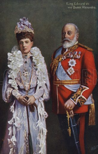 King Edward VII and Queen Alexandra. Postcard, 20th century.