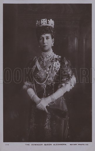 The Dowager Queen Alexandra. Postcard, 20th century.