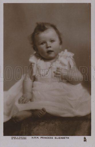 HRH Princess Elizabeth. Postcard, 20th century.