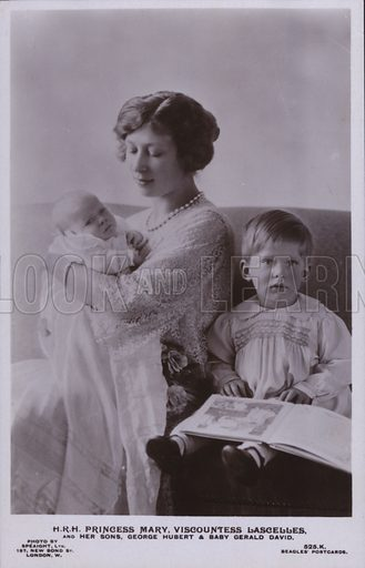 HRH Princess Mary, Viscountless Lascelles, and her sons, George Hubert and baby Gerald David. Postcard, 20th century.