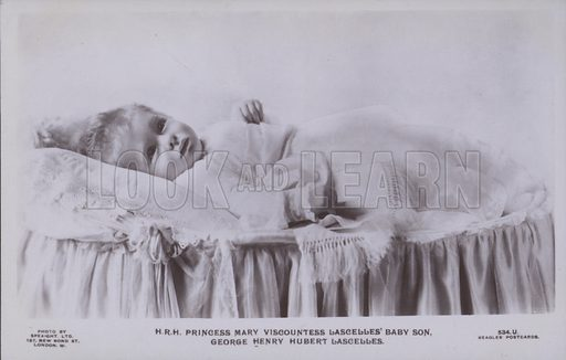 HRH Princess Mary Viscountess Lascelles' baby son, George Henry Hubert Lascelles. Postcard, 20th century.
