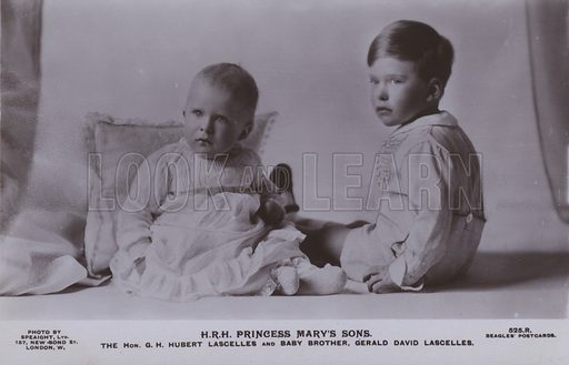 HRH Princess Mary's sons. The Hon G H Hubert Lascelles and baby brother, Gerald David Lascelles. Postcard, 20th century.
