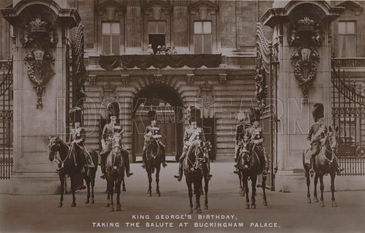 King George's birthday, taking the salute at Buckingham Palace. Postcard, 20th century.