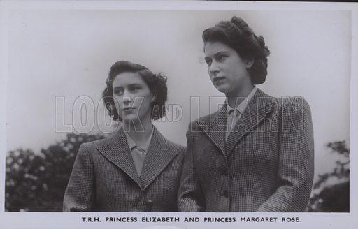 TRH Princess Elizabeth and Princess Margaret Rose. Postcard, 20th century.