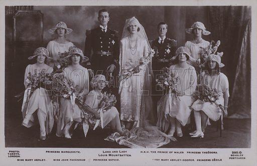 Princess Marguerite, Lord and Lady Louis Mountbatten, HRH The Prince of Wales, Princess Theodora, Miss Mary Ashley, Miss Joan Pakenham, Princess Sophie, Lady Mary Ashley-Cooper, Princess Cecile. Postcard, 20th century.