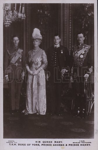 HM Queen Mary, TRH Duke of York, Prince George and Prince Henry. Postcard, 20th century.