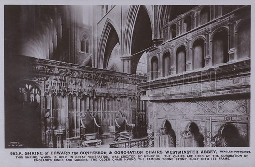 Shrine of Edward the confessor and coronation chairs, Westminster Abbey. This shrine, which is held in great veneration, was erected by Henry III, the chairs are used at the coronation of England's Kings and Queens, the older chair having the famous 'scone stone' built into its frame. Postcard, 20th century.