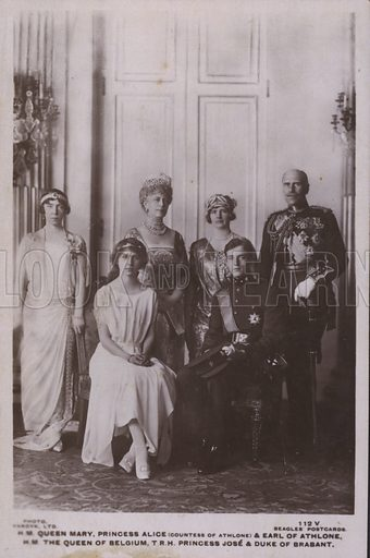 HM Queen Mary, Princess Alice, Countess of Athlone and Earl of Athlone, HM The Queen of Belgium, TRH Princess Jose and Duke of Brabant. Postcard, 20th century.