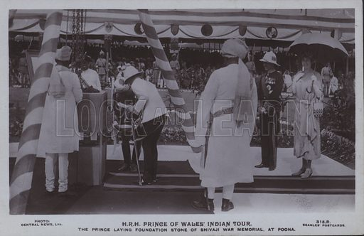 HRH Prince of Wales' Indian tour. The Prince laying foundation stone of Shivaji was memorial, at Poona. Postcard, 20th century.