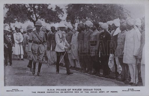 HRH Prince of Wales' Indian tour. The Prince inspecting ex-service men of the Indian Army, at Poona. Postcard, 20th century.