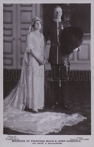 Wedding of Princess Maud and Lord Carnegie. The bride and bridegroom. Postcard, 20th century.