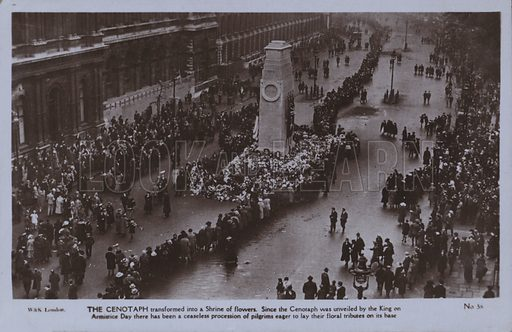 The Cenotaph transformed into a Shrine of flowers. Since the Cenotaph was unveiled by the King on Armistice Day there has been a ceaseless procession of pilgrims eager to lay their floral tributes on its base. Postcard, 20th century.