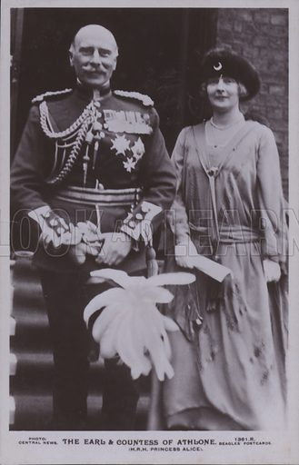 The Earl and Countess of Athlone. HRH Princess Alice. Postcard, 20th century.