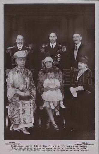 Homecoming of TRH The Duke and Duchess of York, TM King George and Queen Mary, Duke and Duchess of York with Princess Elizabeth, and Earl and Countess of Strathmore. Postcard, 20th century.