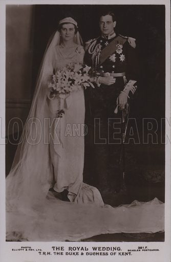 The royal wedding. TRH The Duke and Duchess of Kent. Postcard, 20th century.
