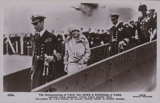 The homecoming of TRH The Duke and Duchess of York. Leaving HMS 'renown' after their empire tour, followed by TRH Prince of Wales, Prince Henry and Prince George. Postcard, 20th century.