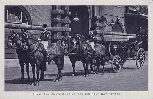 Royal Semi-State Road Landau and Four Bay Horses. Postcard, 20th century.