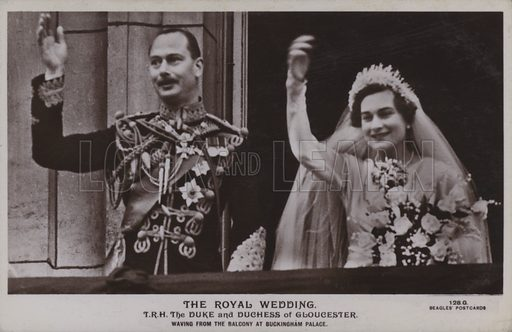 The royal wedding. TRH The Duke and Duchess of Gloucester, waving from the balcony at Buckingham Palace. Postcard, 20th century.