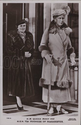 HM Queen Mary and HRH The Duchess of Gloucester. Postcard, 20th century.
