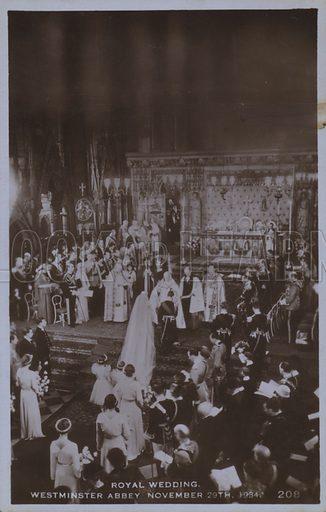 Royal wedding, Westminster Abbey 29 November 1934. Postcard, 20th century.