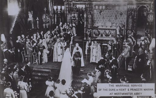 The marriage service of the Duke of Kent and Princess Marina at Westminster Abbey. Postcard, 20th century.