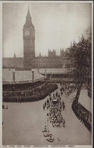 The King and Queen approaching Westminster Abbey. Postcard, 20th century.