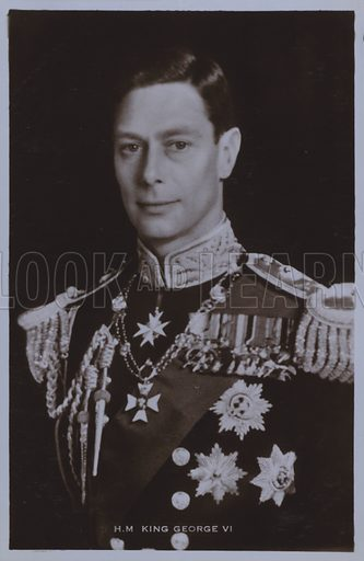 HM King George VI. Postcard, 20th century.