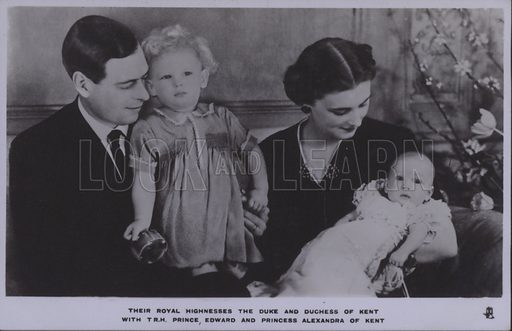 Their royal highnesses the Duke and Duchess of Kent with TRH Prince Edward and Princess Alexandra of Kent. Postcard, 20th century.