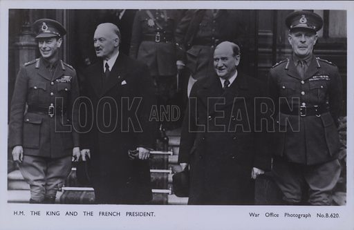 HM The King and the French President. Postcard, 20th century.
