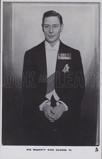 His majesty King George VI. Postcard, 20th century.