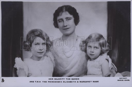 Her majesty the Queen and TRH The Princesses Elizabeth and Margaret Rose. Postcard, 20th century.
