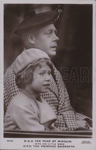 HRH The Duke of Windsor, with his little niece HRH The Princess Elizabeth. Postcard, 20th century.