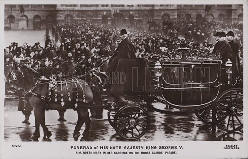 Funeral of his late majesty King George V. HM Queen Mary in her carriage on the horse guards' parade. Postcard, 20th century.