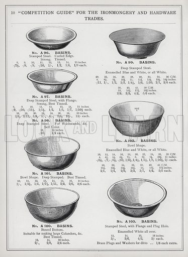 """Page from """"Competition Guide"""" for the Ironmongery and Hardware Trades, published by G Harding and Sons, Long Lane, Borough, London SE.  No date, but c 1895."""