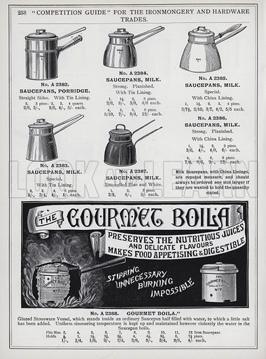 """Page from """"Competition Guide"""" for the Ironmongery and Hardware Trades, published by G Harding and Sons, Long Lane, Borough, London SE No date, but c 1895."""