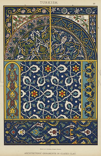 Turkish, Architectonic Ornaments in Glazed Clay. Illustration for The Historic Styles of Ornament by H Dolmetsch (Batsford, 1898).