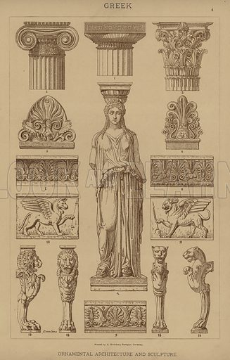 Greek, Ornamental Architecture and Sculpture. Illustration for The Historic Styles of Ornament by H Dolmetsch (Batsford, 1898).