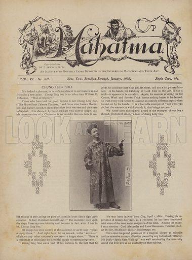 Chung Ling Soo, aka William E Robinson, Man Of Mystery.  Page from Mahatma magazine, January 1903.