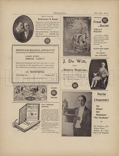 Advertisements for magicians.  Page from Mahatma magazine, February 1905.