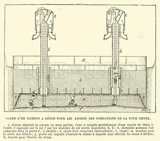 Coupe d'un Caisson a Beton pour les Assises des Fondations de la Tour Eiffel. Illustration for L'Exposition De Paris, 1889 (Librairie Illustree, 1889).