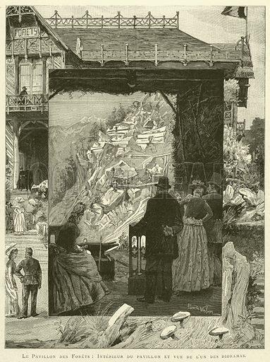 Le Pavillon des Forets, Interieur du pavillon et vue de l'un des dioramas. Illustration for L'Exposition De Paris, 1889 (Librairie Illustree, 1889).