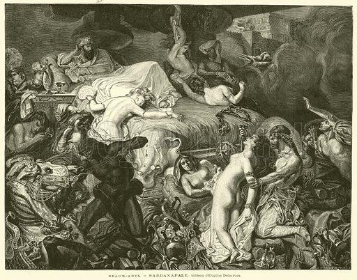 Beaux-Arts, Sardanapale, tableau d'Eugene Delacroix. Illustration for L'Exposition De Paris, 1889 (Librairie Illustree, 1889).